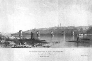 1853 Вид Ланцюгового мосту на Дніпрі та Києво-Печерської лаври